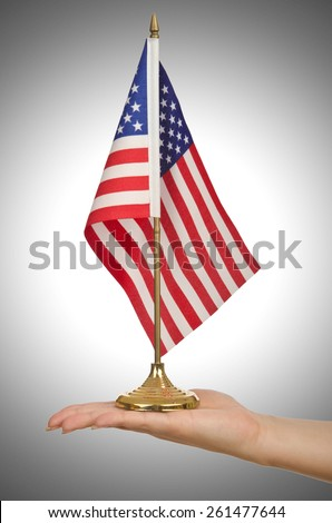 Hand holding american flag on white - stock photo