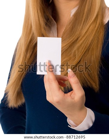 Hand holding an empty business card - stock photo