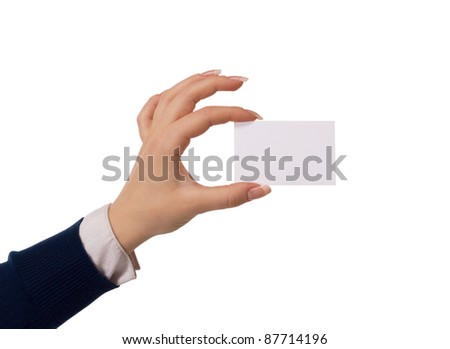 Hand holding an empty business card over white - stock photo