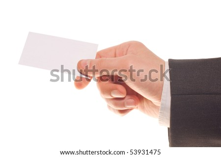 Hand holding an empty business visit card over white - stock photo