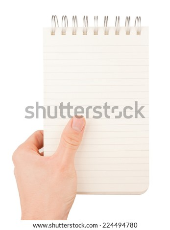Hand holding an empty journal binder (notepad or notebook) isolated on white - stock photo