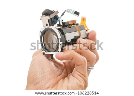 Hand Holding an Optical Lens Attachment