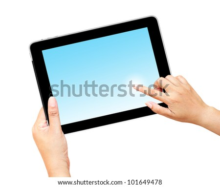 hand holding and finger pointing  touch screen tablet computer with blank screen - stock photo