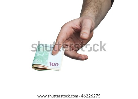 hand holding and giving money