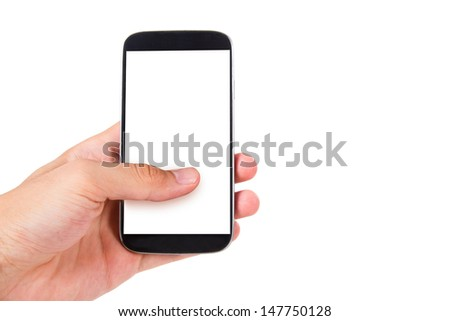 Hand holding and showing smart phone with blank, white screen, front view, isolated on white background. - stock photo