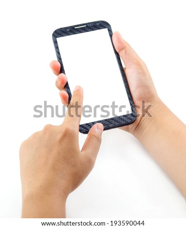 Hand holding and Touch on Black Smartphone with blank screen on white background - stock photo