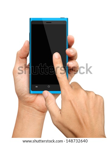 Hand holding and Touch on Blue Smartphone on White Background - stock photo