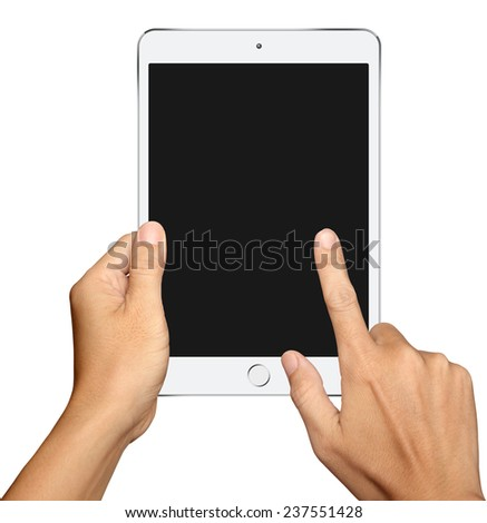 Hand holding and Touch on Small White Tablet Computer on white background - stock photo