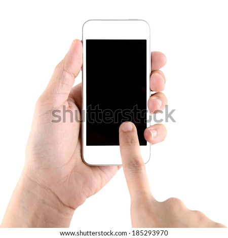 Hand holding and touch on smartphone with blank screen isolated on white background - stock photo