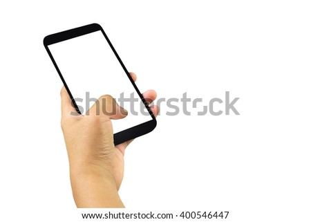 Hand holding and touch screen smart phone, tablet,cellphone,Asian