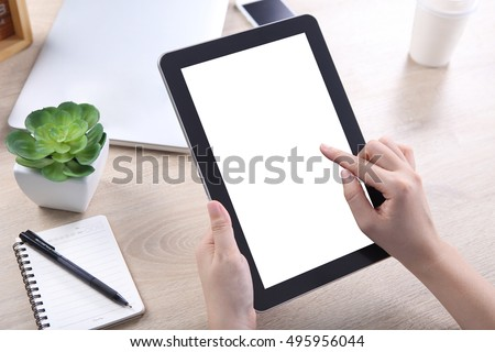 Hand holding and touching on tablet screen, Tablet mockup for web design