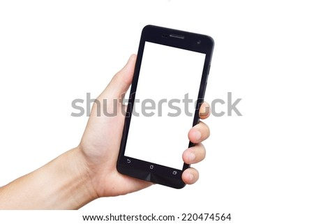 hand holding and using a smartphone - stock photo