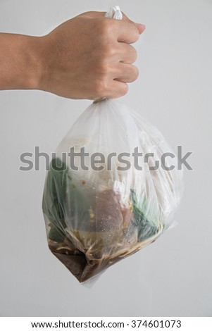 Hand holding bag of garbage waste