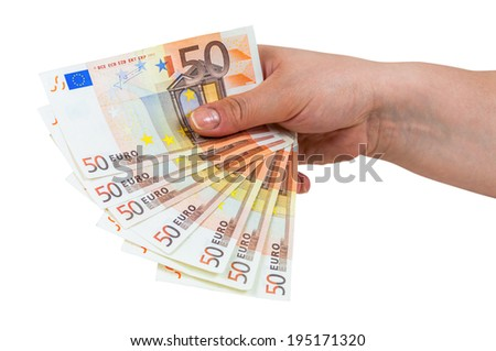 Hand holding banknotes of 50 euro isolated on white background with clipping path - stock photo
