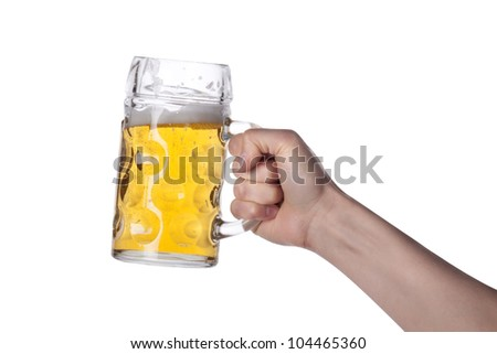 hand holding beer making a toast - stock photo