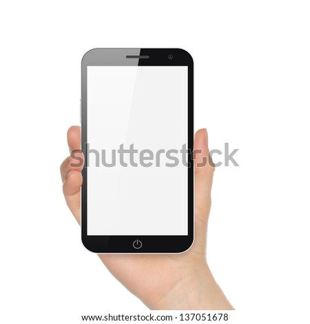 Hand holding big smart phone on white background - stock photo