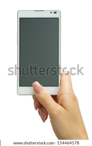 Hand holding big touchscreen smart phone - stock photo