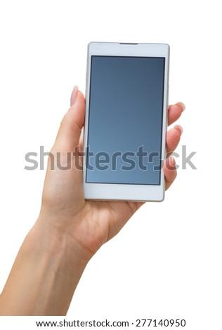 Hand holding big touchscreen smart phone - stock photo