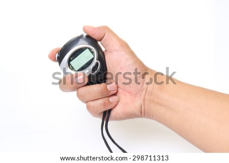 Hand holding Black digital stopwatch isolated on white background