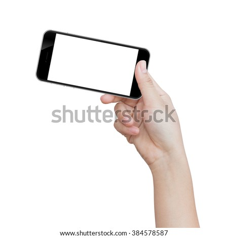 hand holding black phone isolated on white clipping path inside image data
