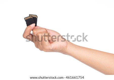 hand holding Black SD memory card isolated on white background