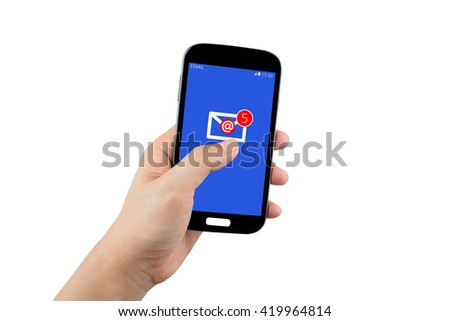 hand holding black smartphone with email inbox on the screen isolated on white background with clipping path - stock photo
