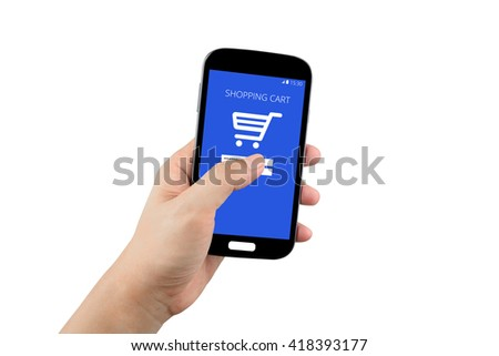 hand holding black smartphone with shopping cart on the screen isolated on white background with clipping path