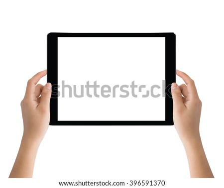 hand holding black tablet isolated on white clipping path inside easy adjustment - stock photo