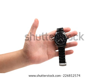 hand holding black watch isolated on white. - stock photo
