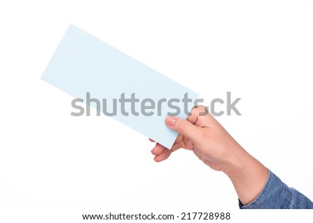 hand holding blank airline boarding pass ticket isolated over white background  - stock photo