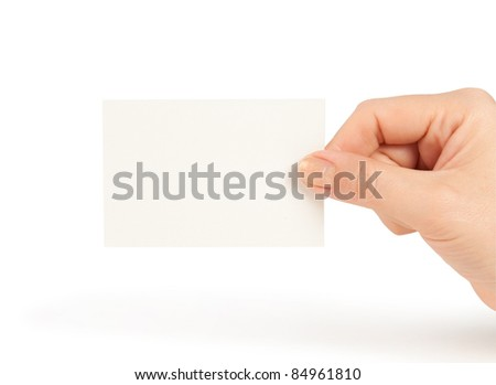 Hand holding blank business card isolated