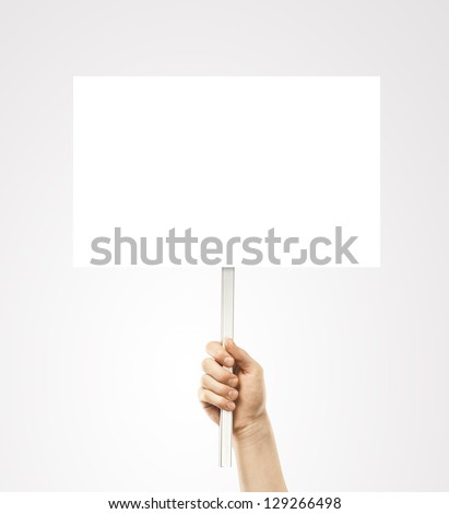 hand holding blank card - stock photo