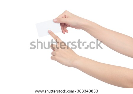 hand holding blank card on white background,with clipping path