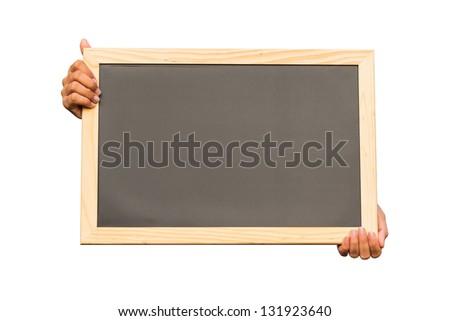 Hand holding blank chalkboard on white background, communication concept - stock photo