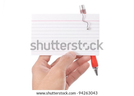 Hand Holding Blank Index Card - stock photo