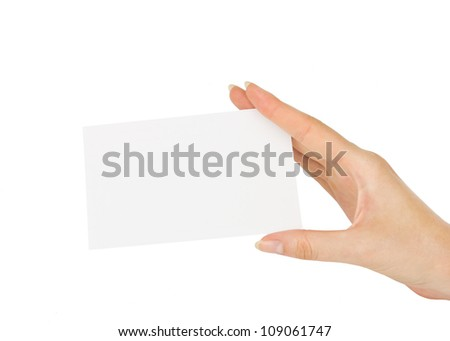 hand holding blank paper business card, closeup isolated on white background