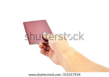 Hand Holding Blank Passport Book Cover - stock photo