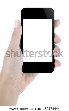 Hand holding blank screen mobile phone - stock photo