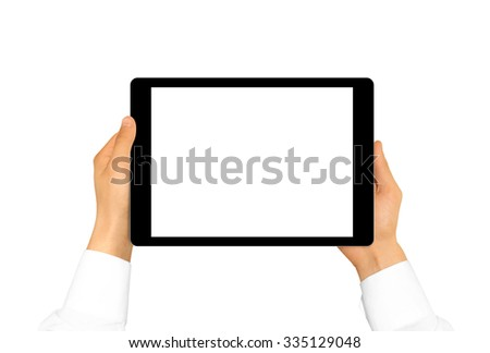 Hand holding blank tablet mock up isolated. New portable pc screen presentation. Empty display device mockup. Space touchscreen gadget hold in hands. Tab hd wide screen monitor holder. Laptop handle.
