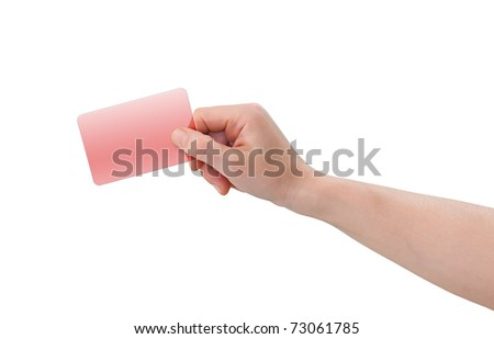Hand holding blank transparent red plastic business or credit card with copy-space, isolated on white - stock photo