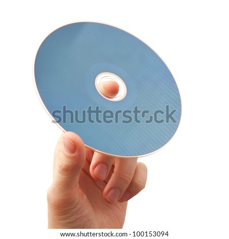 hand holding blu-ray disk, isolated on white - stock photo