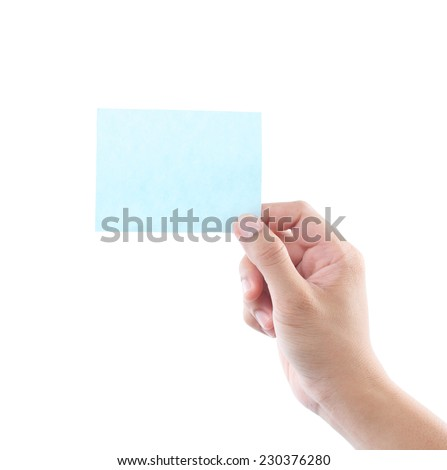 hand holding blue business card isolated on white background