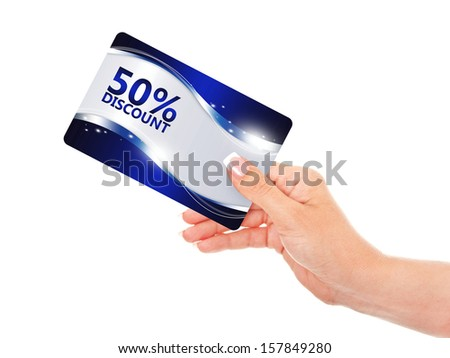 hand holding blue discount card isolated over white background