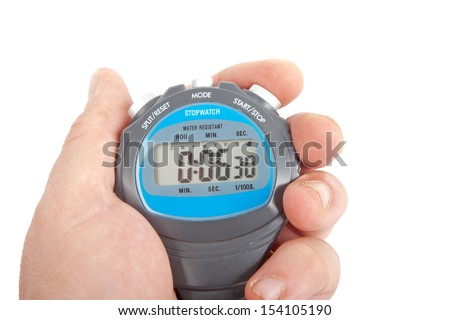 hand holding blue stop watch isolated on white background - stock photo