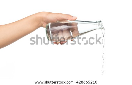 hand holding bottle pouring water splash isolated on white background