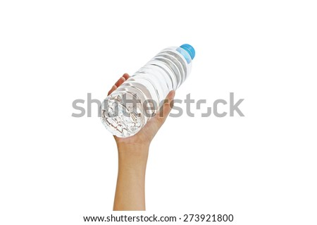 Hand holding bottle water with clipping path - stock photo