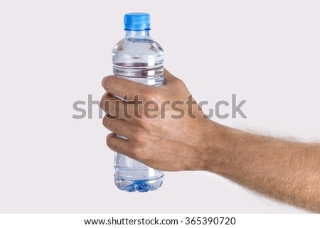 Hand Holding Bottled Water  - stock photo