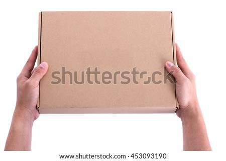 hand holding box cardboard delibery