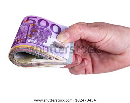 Hand holding bunch of cash - stock photo
