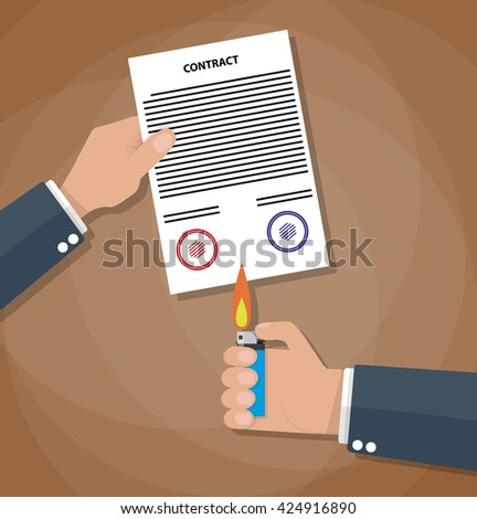 Hand holding burning lighter under a contract. Contract termination concept. illustration in flat design on brown background - stock photo